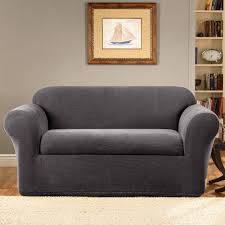 Pottery Barn Loose Fit Slipcover Living Room Serta Stretch Grid T Cushion Sofa Slipcover In Grey