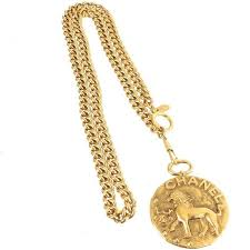 necklace pendant coin images Chanel vintage rare gold large coin medallion lion charm chain jpg