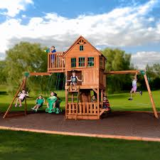 amazon com backyard discovery skyfort ii all cedar wood swing set