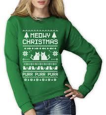meowy christmas ugly sweater women sweatshirt funny cat lovers