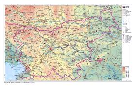 Geographical Map Of Europe by Physical Map Of Slovenia With Roads And Cities Slovenia Europe