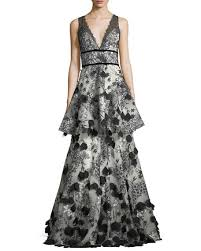 embellished dress marchesa notte two tiered 3d floral embellished gown neiman