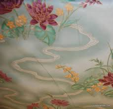 Vintage Drapery Fabric Z134 Vintage Asia Garden Water Lilly Chintz Purple Green Yellow
