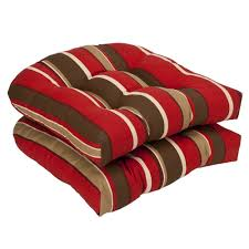 Outdoor Wicker Chairs With Cushions Amazon Com Pillow Perfect Indoor Outdoor Red Brown Striped Wicker