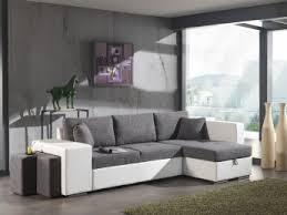 canapé avec pouf canapé d angle convertible avec pouf en tissu gris pu blanc yanis