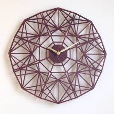 geometric wood wall 19 sapphire wall clock large laser cut unique mid century modern