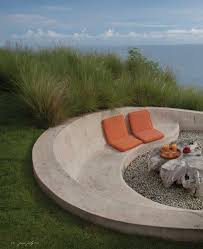 outdoor firepit and concrete bench outdoor seating built in
