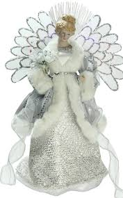 lighted tree topper fiber optic angel christmas tree topper silver gray 13 high