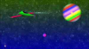 cool alien ufo space craft ship hovering flying in outer space