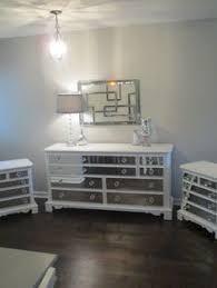 mirrored dresser old white with diamond overlay chic mirror