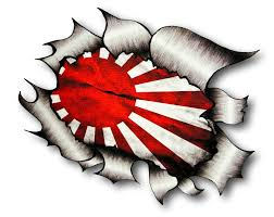 ripped torn metal design with jdm drift style rising sun flag