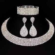 crystal choker necklace set images Rhinestone crystal choker necklace earrings and bracelet jewelry jpg