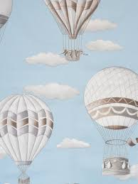 home decor fabric by meter montgolfiere air balloon sky blue