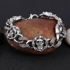 stainless steel bangle charm bracelet images Gothic skull charm bracelet men 39 s bracelet bangle wholesale male jpg