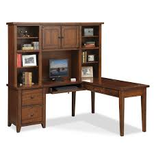 L Shaped Desks Home Office L Shaped Desk With Hutch Brown American Signature Furniture