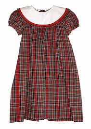 Le Za Me Girls Red Christmas Plaid Loula Dress  Round White Collar