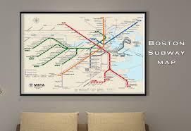Boston Mbta Map Boston Subway Map Poster Tube Map Map Art Metro Map