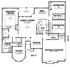 European House Plans One Story 2 Bedroom Bath House Plans 3 Bathroom Floor Also Corgl Luxihome