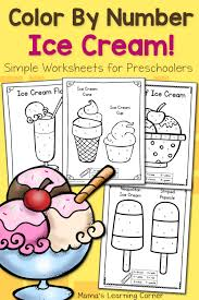 color by number worksheets for preschool ice cream number