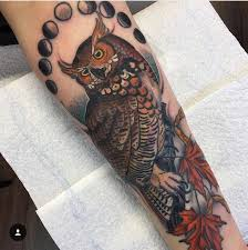 my finished owl done by alina bushman at golden eagle tattoo