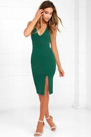 buy cheap gathering glances forest green bodycon dress