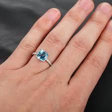 8mm diamond 8mm aquamarine pave diamond prongs 14k white gold engagement ring