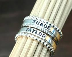 stackable rings with children s names s day name ring set custom name rings gift