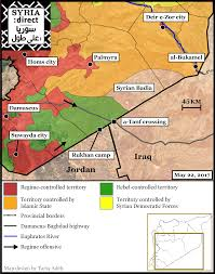 Syria On A Map by Pro Regime Forces Advance Toward Base In Syrian Desert As Us Warns