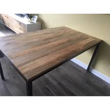 west elm box frame chevron dining table aptdeco