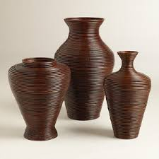 Wicker Vases Cost Plus World Market Dark Brown Bulb Rattan Coil Vases Polyvore