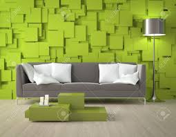 interior design of a modern interior room with green wall made