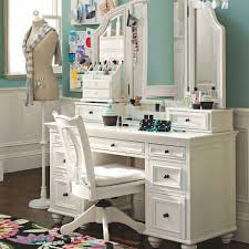 bedroom white makeup vanity table with lighted mirror and tall