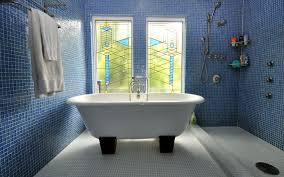 Blue Glass Tile Bathroom - contemporary master bathroom with master bathroom u0026 stained glass