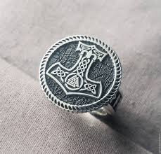 silver ring thor hammer shop online on livemaster with