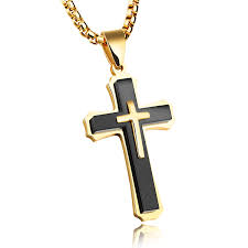 christian jewlery stainless steel gold and black cross christian jewelry jc