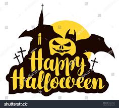 happy halloween lettering pumpkin bat church stock vector