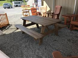 3x6 mushroom stained picnic table with attached benches pine