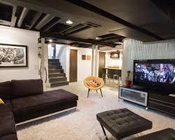 Cool Finished Basements Decorations Small Entertainment Room Idea With Big Screen