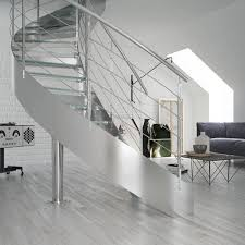 led light curved staircase design stainless steel railing glass