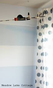 blue stripes in the big boy room with stripe painting tutorial