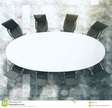 Oval Conference Table White Oval Conference Table With Black Leather Chairs On Concret