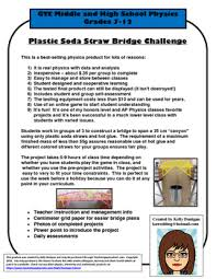 Challenge Physics Plastic Soda Straw Bridge Build Challenge Physics Project Stem