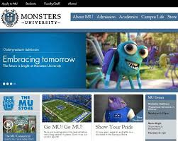 disney pixar u0027s u0027monsters university u0027 quirky college website