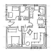 ground floor blueprints sketch u2014 stock vector slavicapopovska