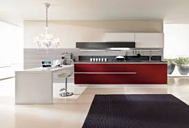 ultra modern italian kitchen design with high gloss red and white