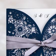navy blue wedding invitations navy blue laser cut wedding invitations with ribbon