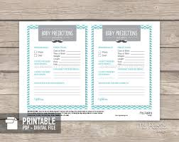 little man baby shower printable baby predictions and advice card