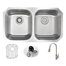 kitchen sink and faucet sets anzzi undermount stainless steel 32 in basin kitchen