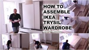 Closet Sliding Doors Ikea by Ikea Trysil Wardrobe With Sliding Doors And 4 Drawers Youtube