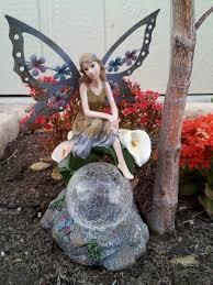 Ball Solar Lights - solar fairy statue and crackle gazing ball lighting
